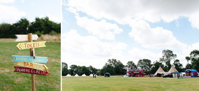 festival themed tipi wedding in a field