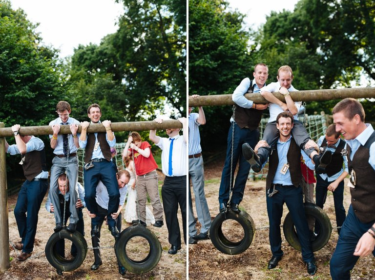 groomsmen playground festival wedding