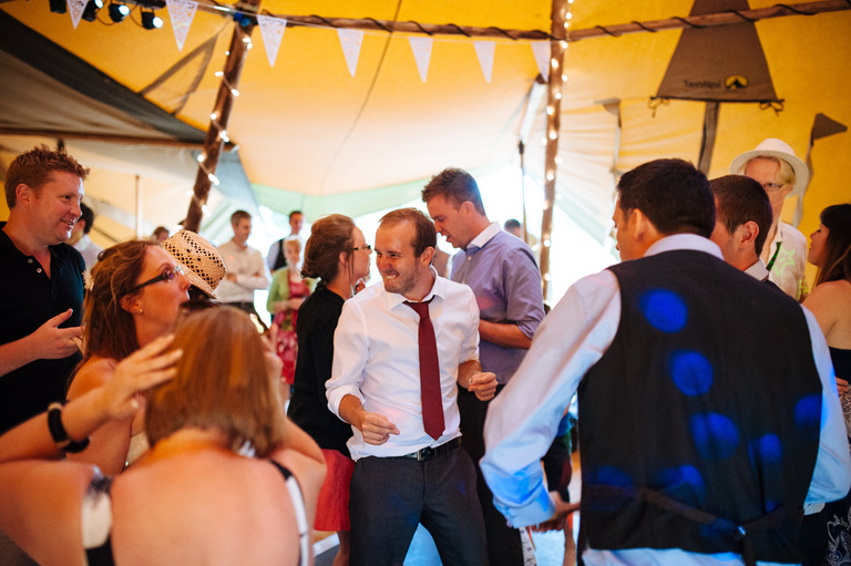 tipi wedding guests dancing