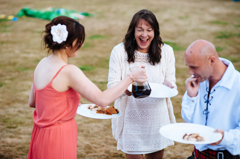 wedding guest getting excited over gravy
