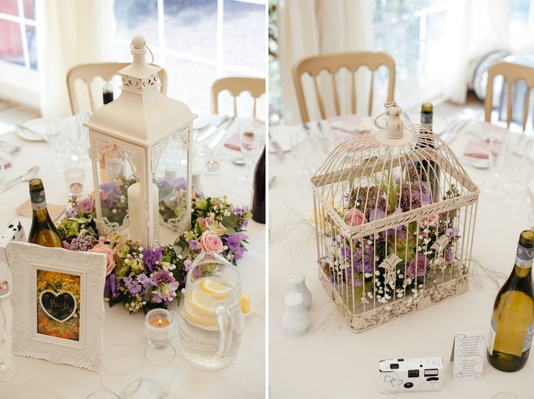 birdcage lantern wedding table details