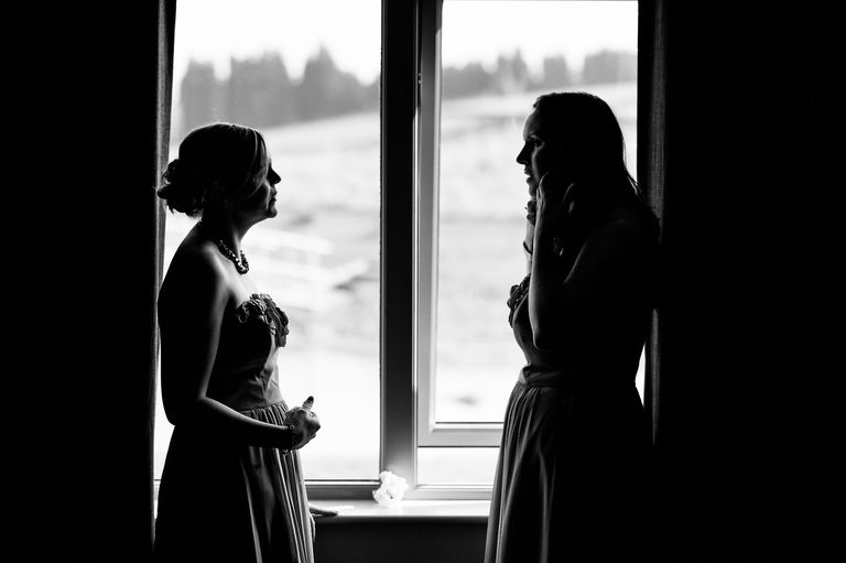 silhouetted bridesmaids