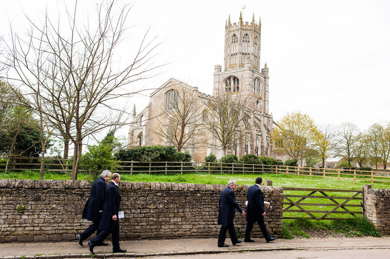 groom walking to fotheringhay church