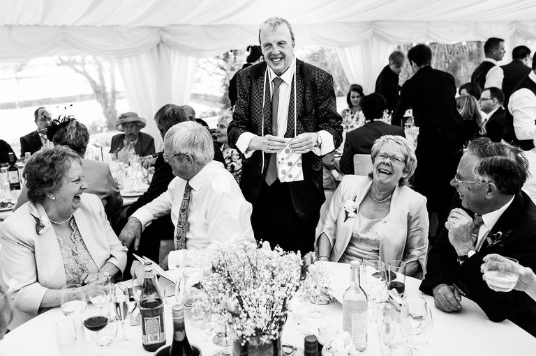 wedding magician making guests laugh