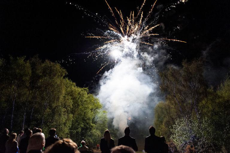 fireworks at night wedding reception