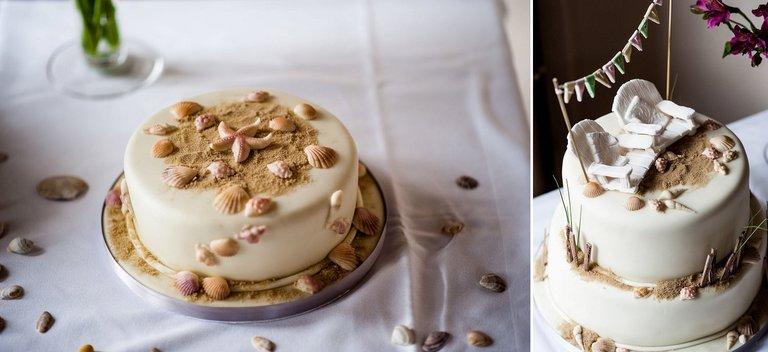 beach wedding cake details