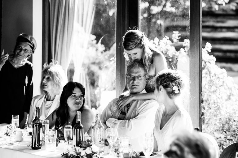 bride with sister and father