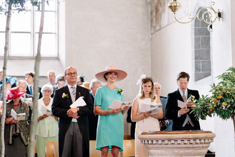 wedding guests in old dutch church
