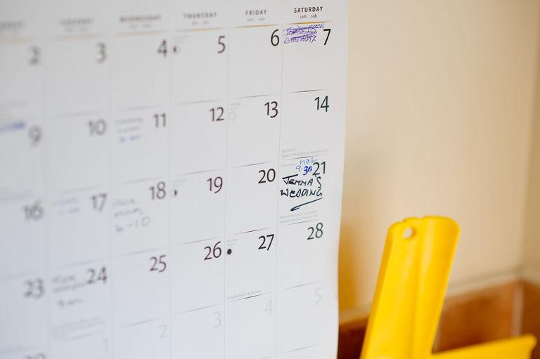 Wedding morning marked calendar