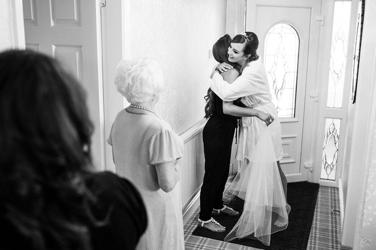 bride hugging