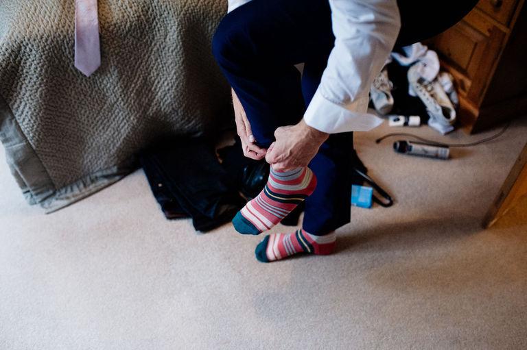 grooms stripey socks