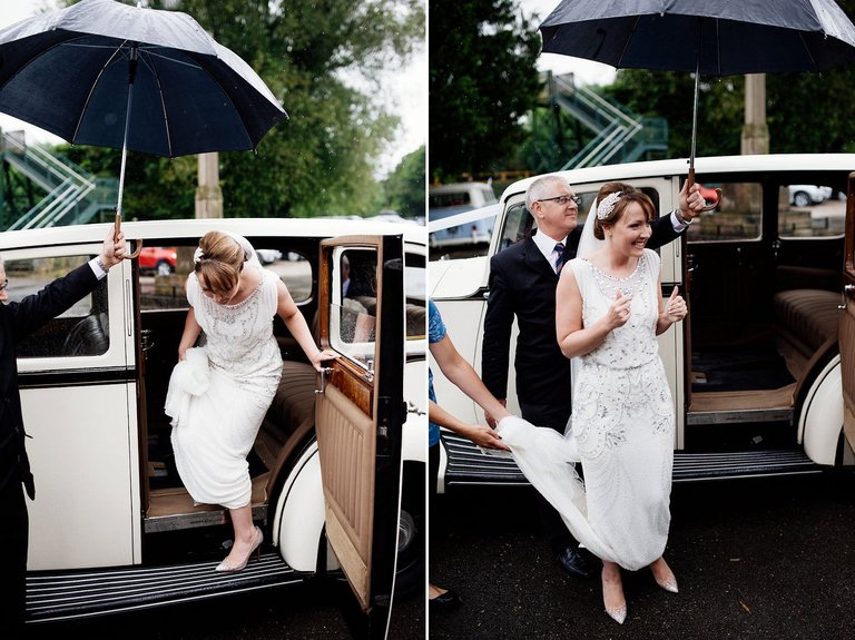 bride arrives at st alkmunds church duffield