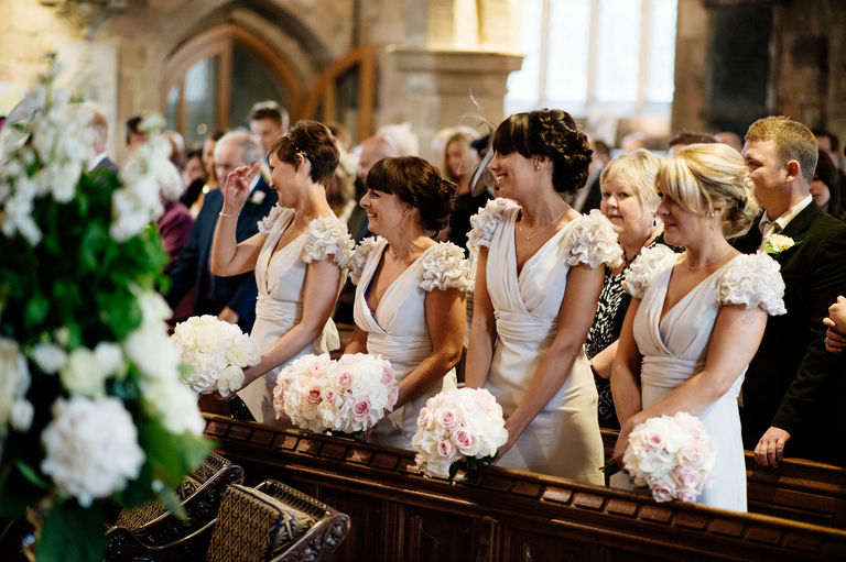 bridesmaids at st alkmunds church duffield