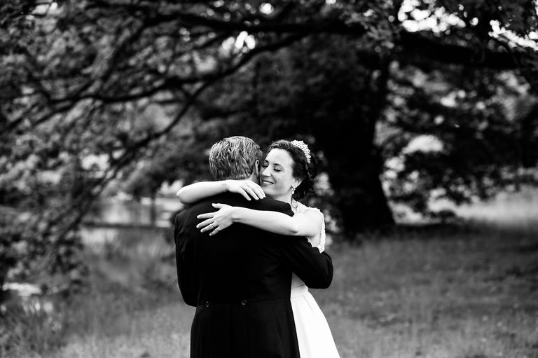 natural black and white wedding portrait