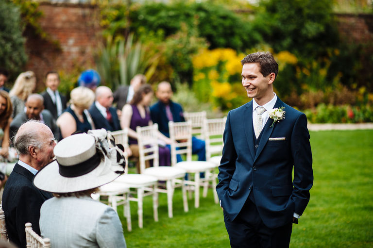 Smiling groom outdoor wedding