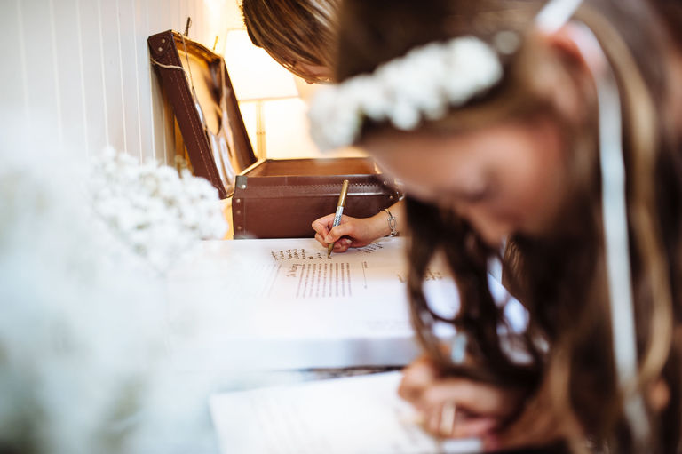 Signing the wedding guest book