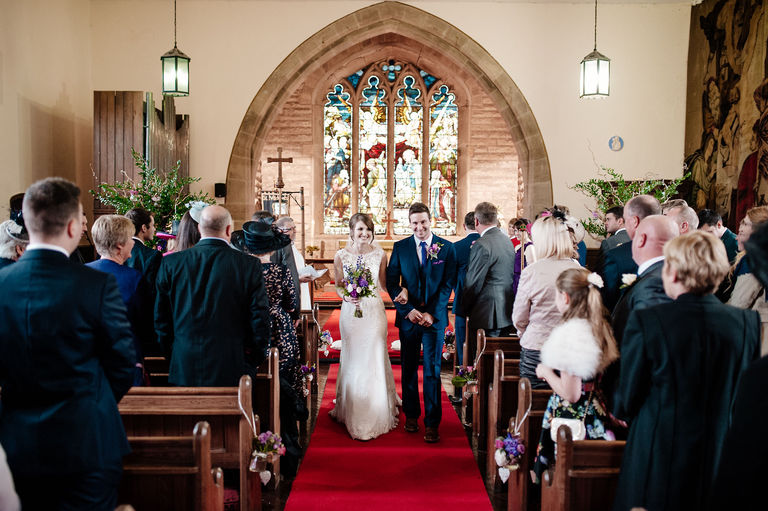 Walking down the aisle at St Michael Whitewell church