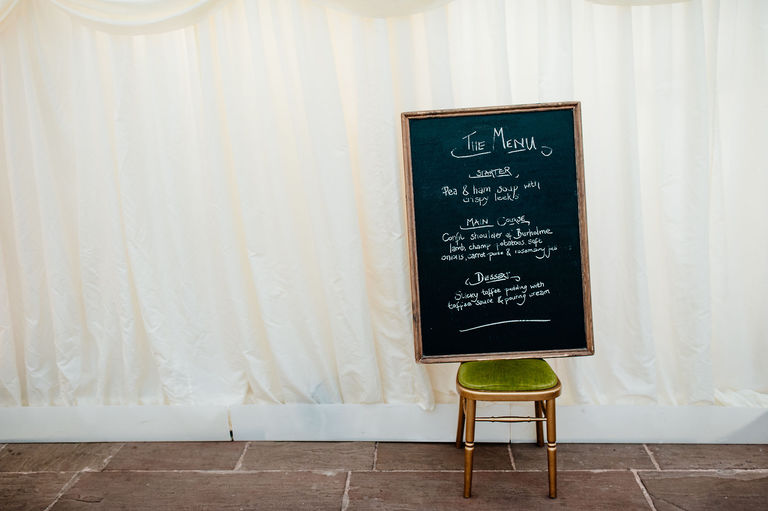 Wedding breakfast menu on chalk board