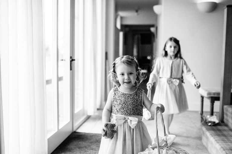 Little girls dressed for a wedding