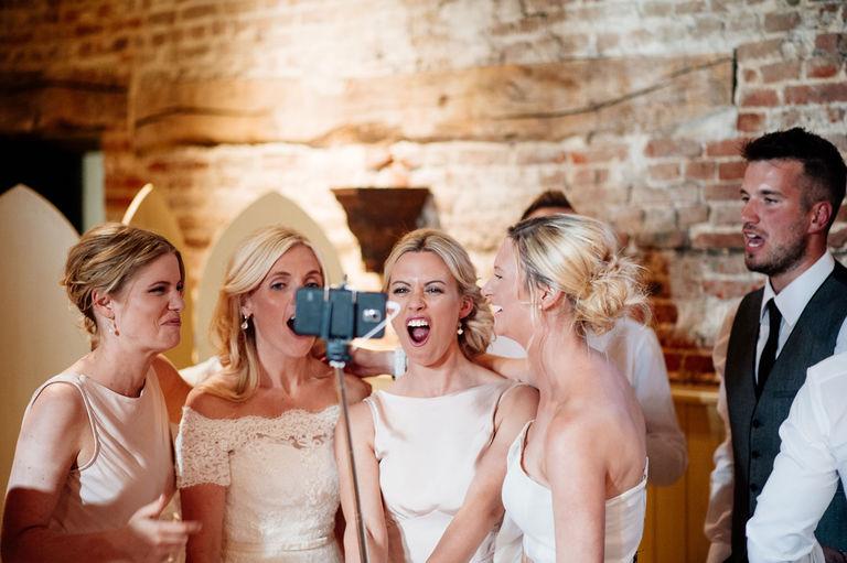 Selfie stick at a wedding