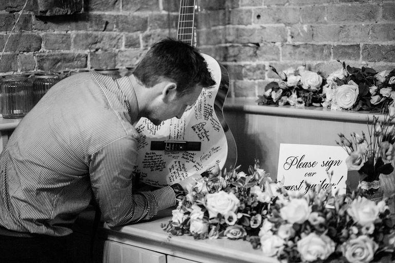 Wedding guestbook signing guitar