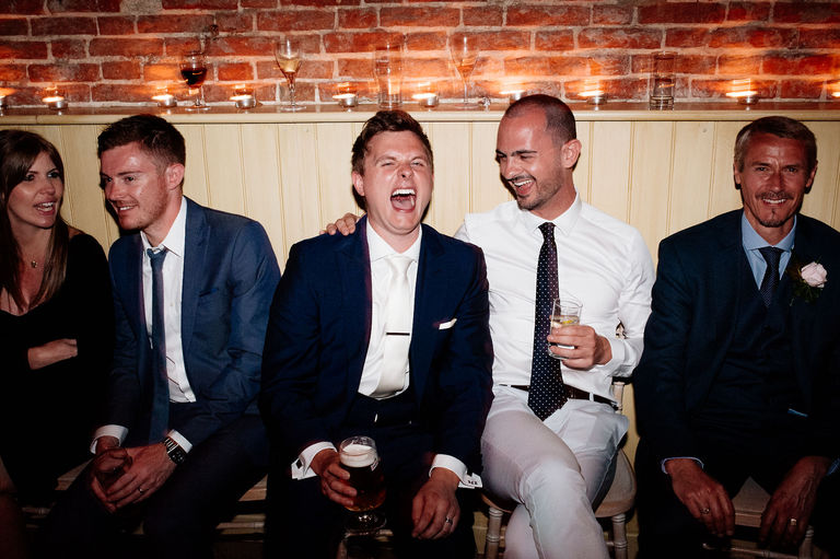 Wedding party laughter