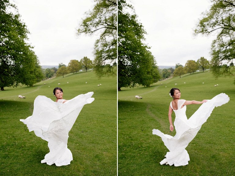 Bride spinning around in wedding dress
