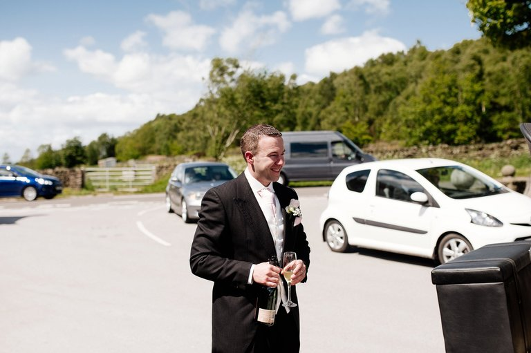 Groom with champagne