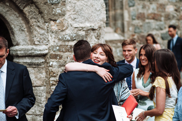 Wedding guests arrive at church