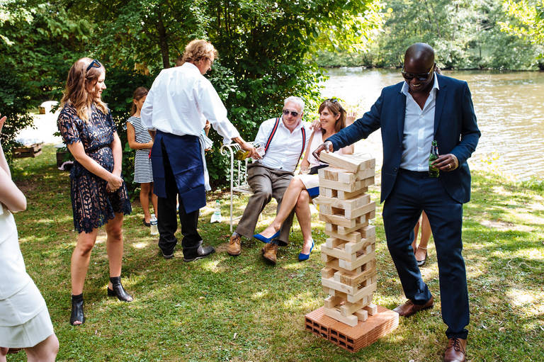 French garden wedding jenga