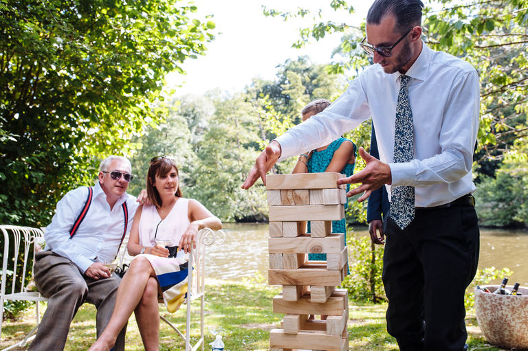 Garden wedding jenga