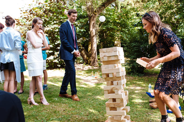 Jenga tower topple wedding