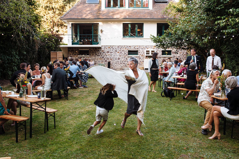 Fun and games at garden wedding