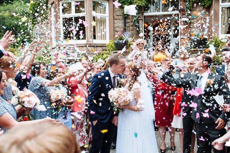 Confetti at Blackbrook House Wedding Venue