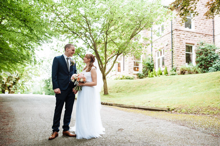 Relaxed wedding portraits at Blackbrook House Derbyshire