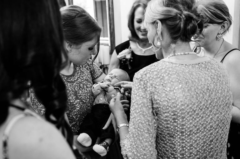 Wedding guests with baby