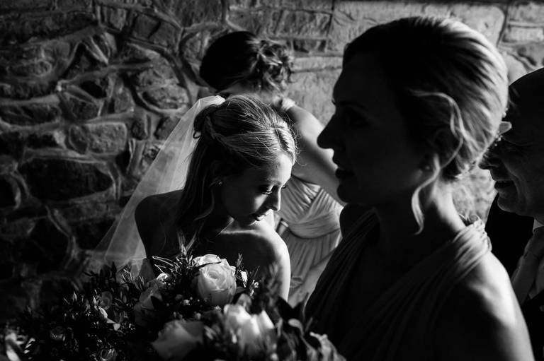 bride waiting to go into church