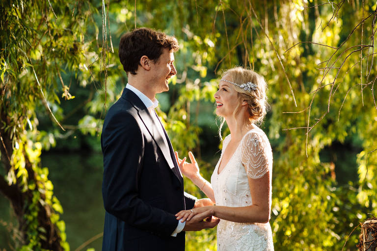 sunny bride and groom photo