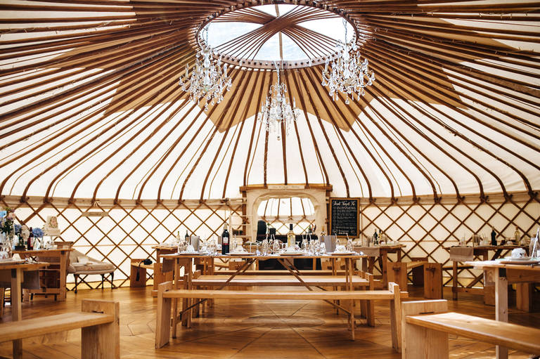 interior of the yurt at birdsgrove