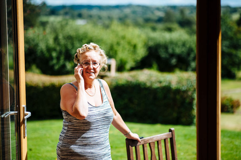 mother of the bride on the phone