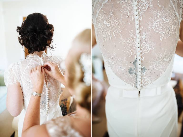 close-up of the bride's wedding dress
