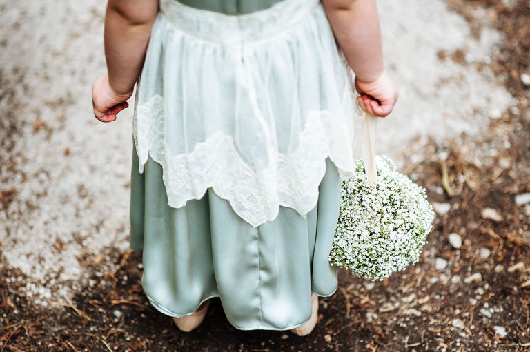 close up of flower girl's dress
