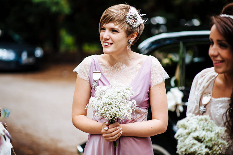 bridesmaid in vintage dress
