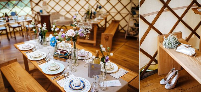 table setting inside the yurt