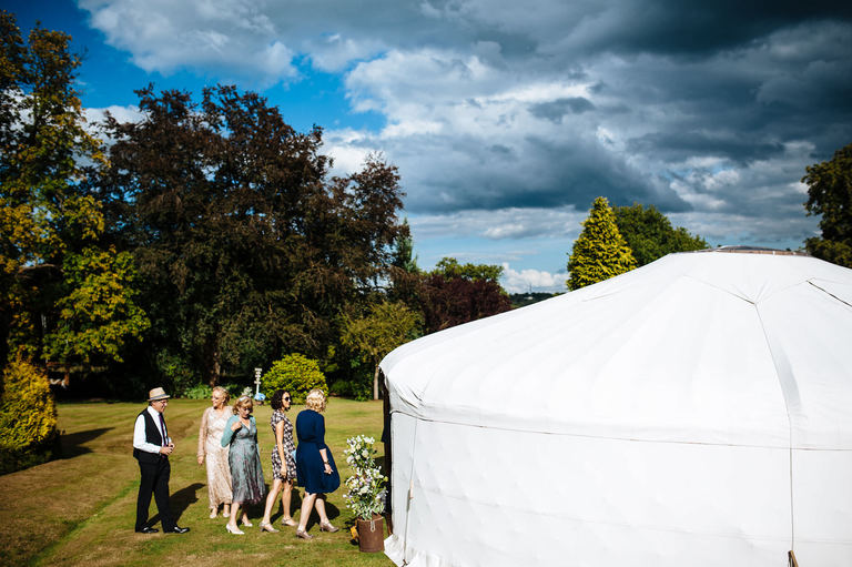guests entering the yurt