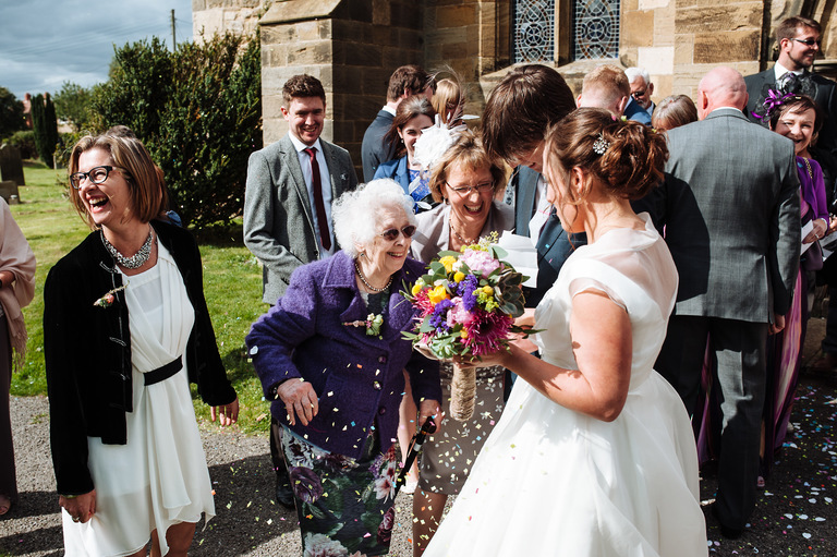 bride with her mum and grandma