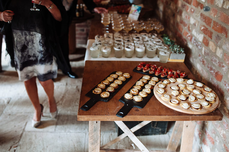 canapes as guests arrive at venue