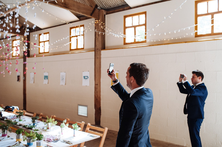 guests taking photos of decorations