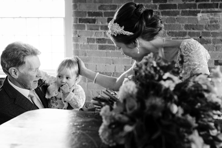 bride spends a moment with her daughter