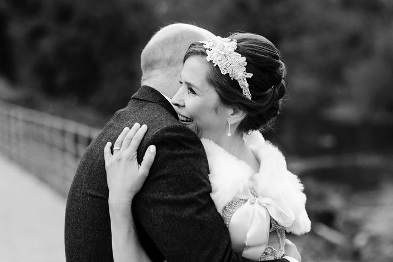 bride and groom happy embrace
